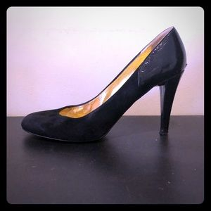 J. Crew Black Suede/Patent leather heel